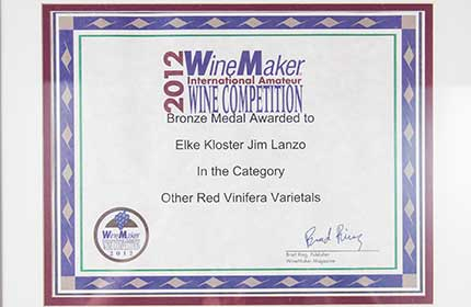 exotica red wine framed award certificate